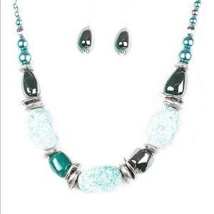 paparazzi Jewelry - In Good Glazes- Blue Necklace w/matching earrings